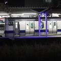 夜の友部駅に到着する水戸線E531系 (3)