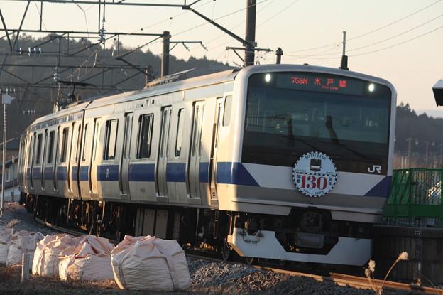 水戸線 E531系K462編成「水戸線開業130周年」ヘッドマーク付き 753M 普通 友部 行 (3)