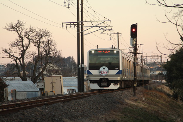 水戸線 E531系K462編成「水戸線開業130周年」ヘッドマーク付き 758M 普通 小山 行
