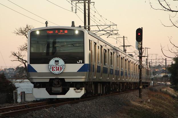 水戸線 E531系K462編成「水戸線開業130周年」ヘッドマーク付き 758M 普通 小山 行 (1)