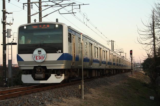 水戸線 E531系K462編成「水戸線開業130周年」ヘッドマーク付き 758M 普通 小山 行 (2)