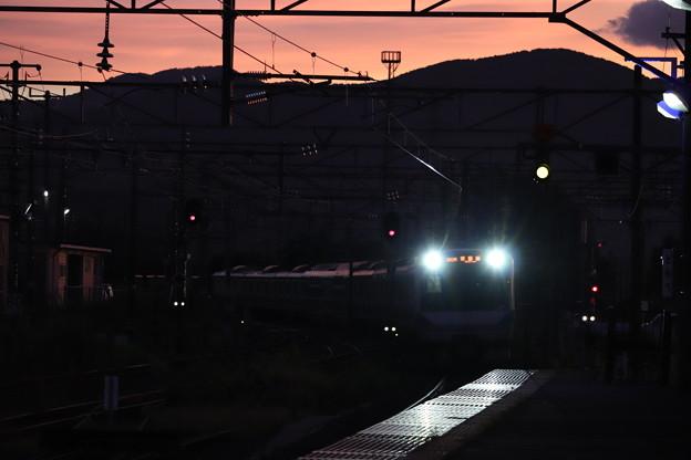 台風一過 夕暮れの友部駅に進入するE531系 2019.09.09 (1)