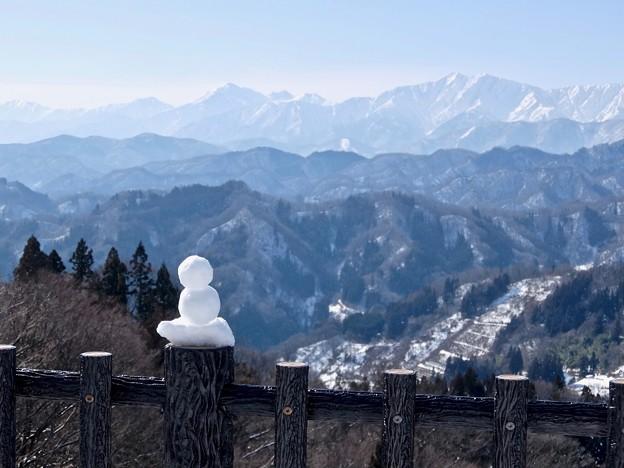雪だるまもアルプス見物?
