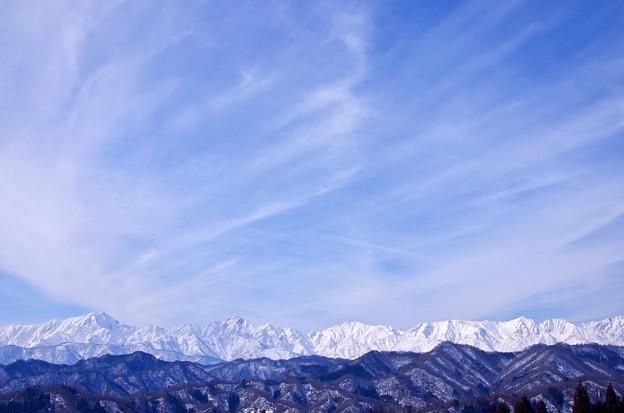 写真: アルプスと筋雲