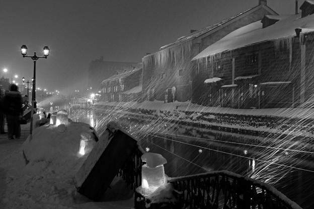 運河・冬/吹雪
