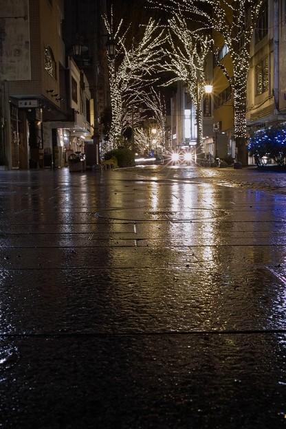 雨に濡れたパセオ通り