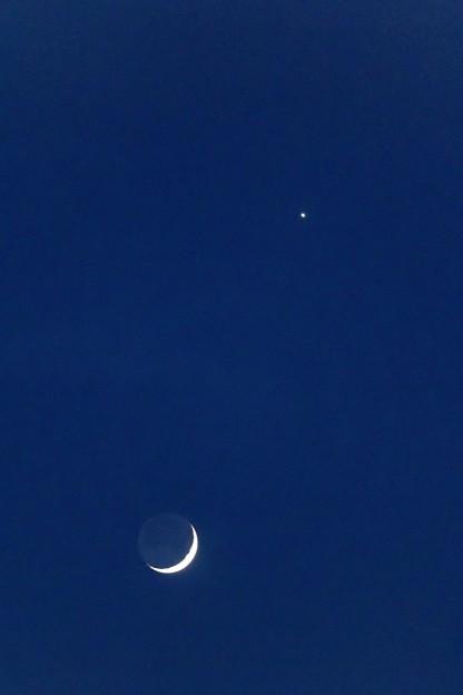 月と金星 中望遠にて
