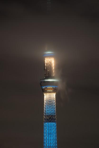 雨に煙る東京スカイツリー