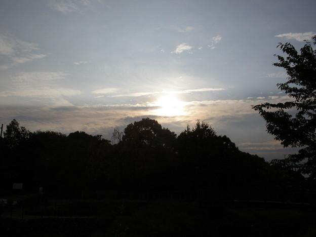 曇りの日の朝日