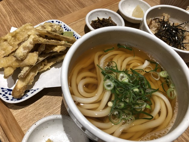 Photos: ごぼう天うどんとかしわ飯セット