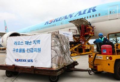 大韓航空、ラオスのダム事故被災者に緊急救援物資を支援