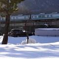 写真: 雪景色のローカル線