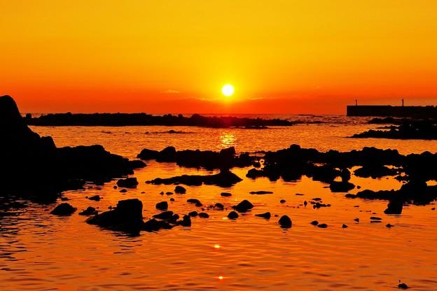 夕景 能登 赤住漁港