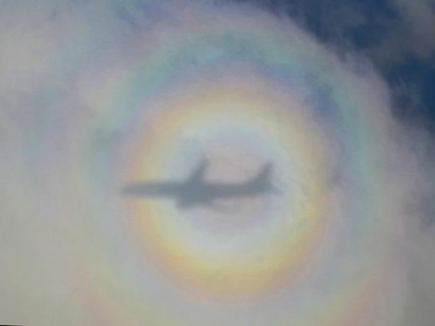 機上からブロッケン現象が見られましたです^^