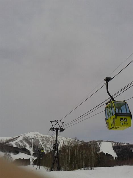 連日の雨風でザクザク中抜けのストップ雪、内地より重いか。滑る暇ないけどな。