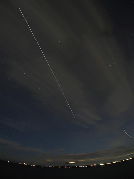 ISSの光跡