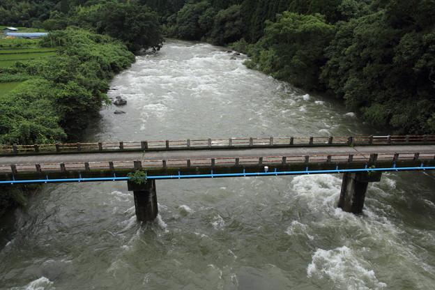 大雨で増水の川
