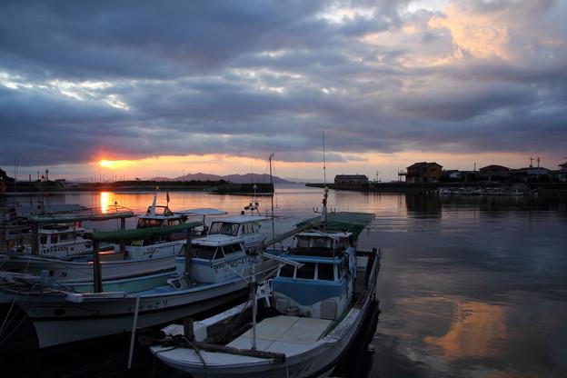 丸島漁港からの夕日