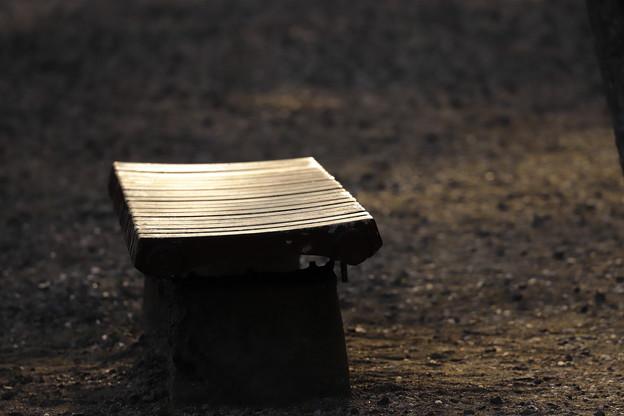 写真: 夕暮れベンチ