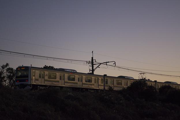 夕焼け色の電車