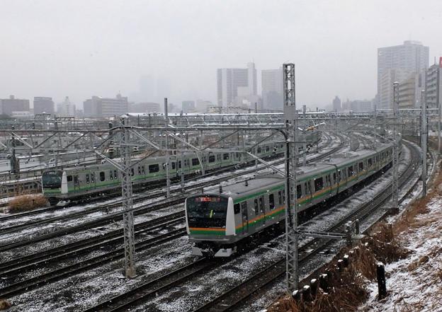 雪の中、E233系競演