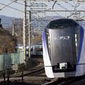 写真: 上りE353系一番列車