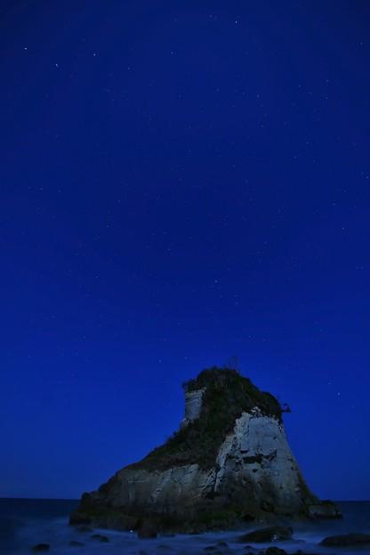 夫婦岩と星空