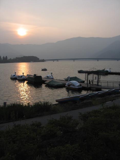 山中湖の夕陽。