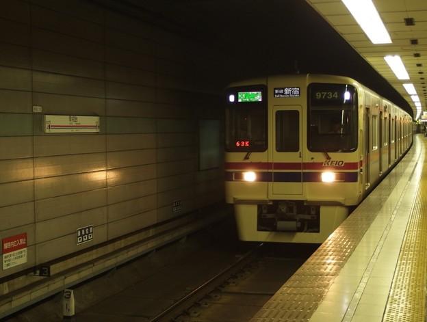 京王新線初台駅2番線 京王9034区急新線新宿行き進入