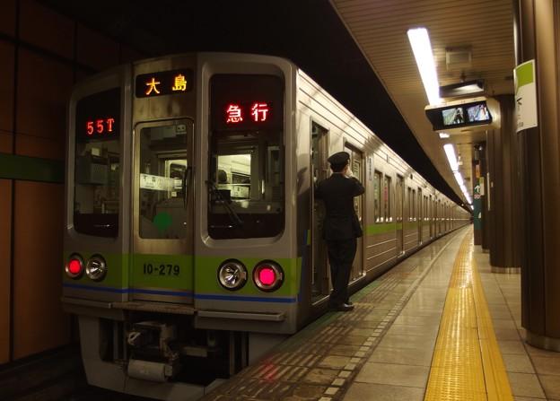 都営新宿線森下駅2番線 都営10-270F急行大島行き側面よし