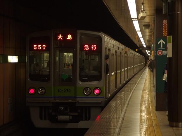 都営新宿線森下駅2番線 都営10-270F急行大島行き前方確認