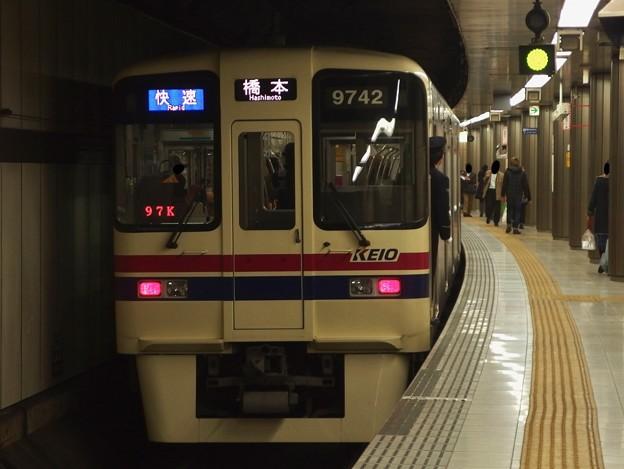 京王新線新宿駅4番線 京王9042快速橋本行き前方確認