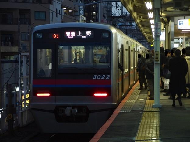 京成本線町屋駅1番線 京成3022普通上野行き停止位置よし