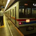 写真: 都営浅草線日本橋駅2番線 京成3448Fエアポート快特高砂行き