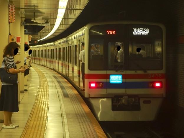都営浅草線東銀座駅2番線 京成3438F通勤特急芝山千代田行き前方確認