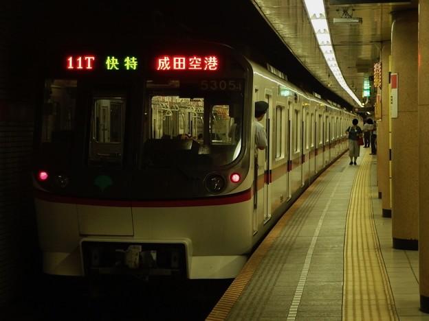 都営浅草線三田駅2番線 都営5305快速特急成田空港行き前方確認