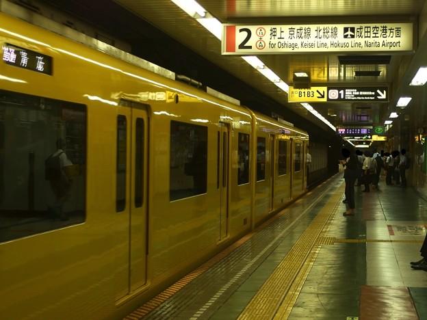 都営浅草線東日本橋駅2番線 京急1057普通青砥行き前方確認