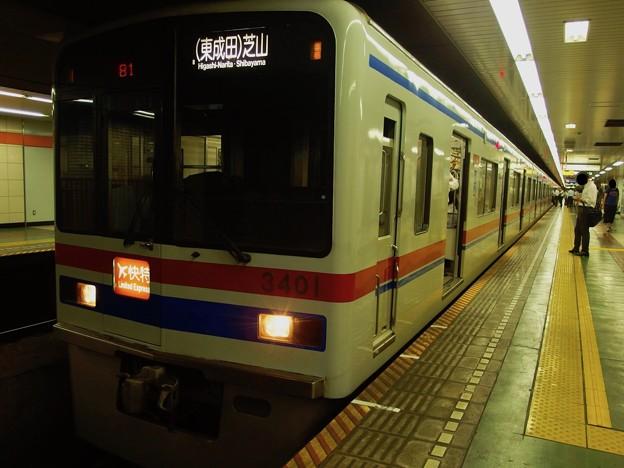 都営浅草線東日本橋駅2番線 京成3408Fエアポート快特芝山千代田行き