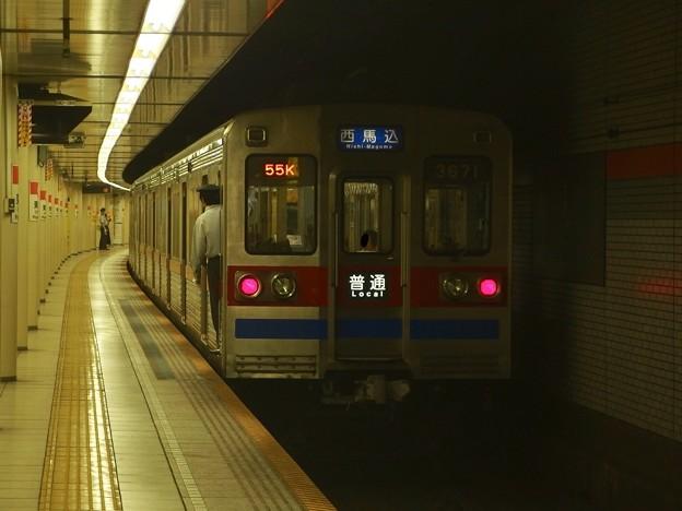 都営浅草線東銀座駅1番線 京成3678F普通西馬込行き前方確認