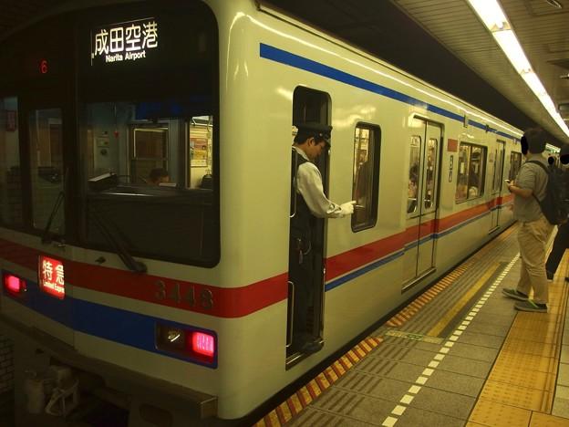 都営浅草線三田駅2番線 京成3448F特急成田空港行き停止位置よし