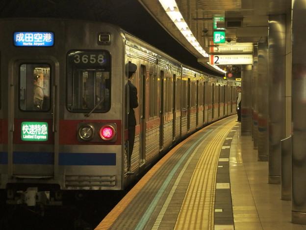 都営浅草線高輪台駅2番線 京成3658F快速特急成田空港行き前方確認2