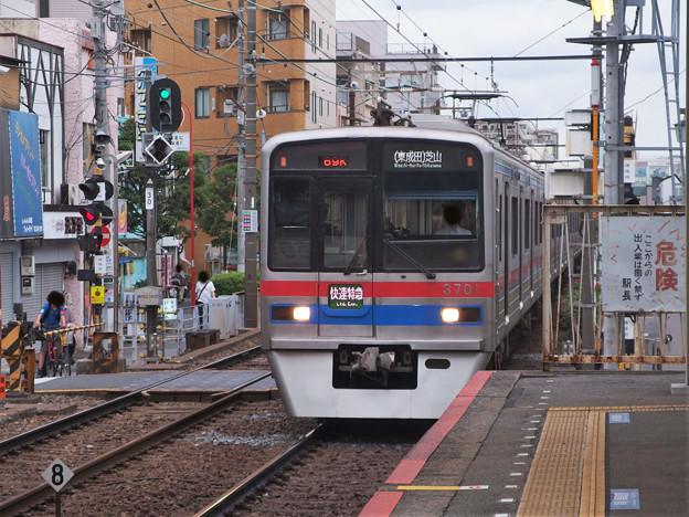 京成押上線立石駅2番線 京成3708F快速特急芝山千代田行き進入