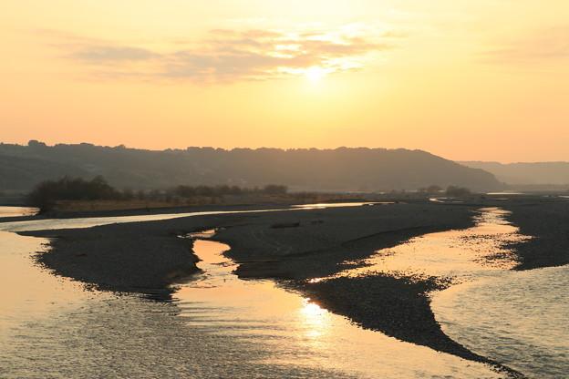 大井川の夕景