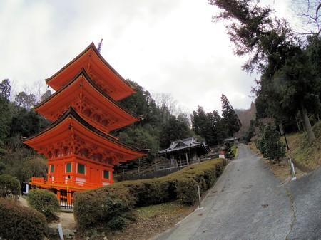 師走の長福寺三重塔