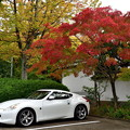 写真: 2018_1104_143123 紅葉と白いスポーツカー