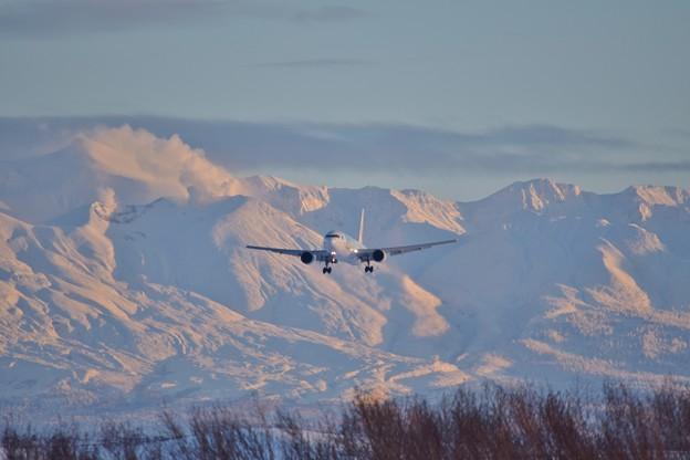 夕日と飛行機