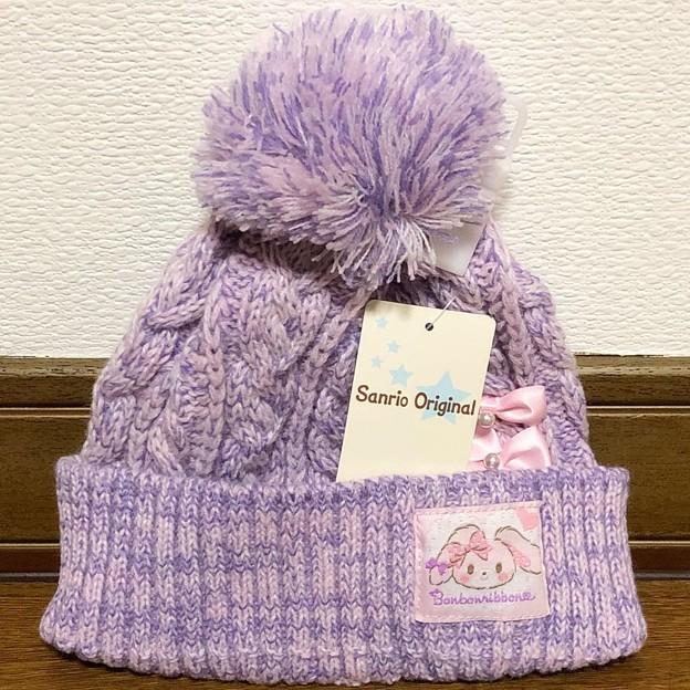 ぼんぼんりぼん キッズケーブル編みニット帽