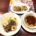 Photos: 広島流 肉盛り辛つけ麺(本格焼餃子[6コ]のセット)