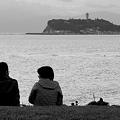 写真: 江ノ島を見て