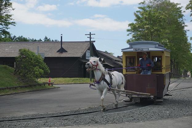 坂道を往く馬車鉄道